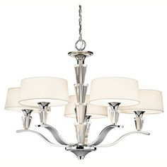 Kichler Crystal Persuasion 5 Light 30  Wide Chandelier with Etched Glass Shades - Chrome