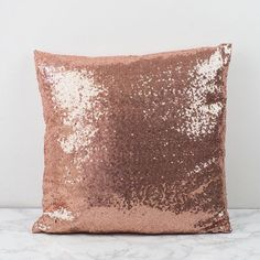 Sequin Pillow Cushion Cover Silver Rose Gold by MagpieLinens