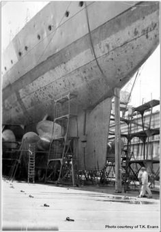 HMS Admiral-class battlecruiser 'Hood' in drydock, circa 1938.