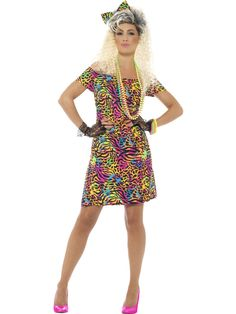Party Animal - Adult Costume Fancy Dress - Parties & More * Add some colour to the party with this style zebra print dress. Available in sizes - Check our fancy dress accessories to complete the outfit! Animal Fancy Dress Costumes, Party Animal Costume, Animal Costumes, Adult Costumes, Costumes For Women, Halloween Costumes, 1980s Fancy Dress, Retro Dress, Goth Outfit