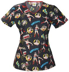 3fd96b8eb3d Tooniforms by Cherokee Women's V-Neck Wonder Woman Print Scrub Top X-Large  Print: A V-neck top features front neck piping, bust darts, patch pockets,  ...