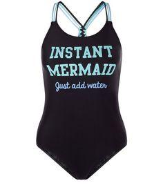 New Look Teens Black Instant Mermaid Print Swimsuit Mermaid Swimsuit, One Piece Swimsuit, Black Swimsuit, Mermaid Swimming, Vintage Bikini, Cute Bathing Suits, Summer Swimwear, Sexy, Swimming Costume