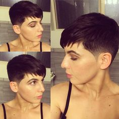 mens hairstyles for long hair Short Hair Tomboy, Chic Short Hair, Super Short Hair, Short Hair Cuts, Pixie Cuts, Try New Hairstyles, Pixie Bob Hairstyles, Short Hairstyles Fine, Trending Hairstyles