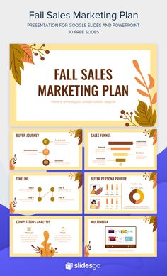 Devise along with your colleagues a marketing plan for next Fall season sales and present it in Google Slides or PowerPoint with the help of this template Free Powerpoint Presentations, Powerpoint Slide Designs, Powerpoint Design Templates, Powerpoint Background Design, Creative Powerpoint, Microsoft Powerpoint, Marketing Plan Sample, Graphic Design Lessons, Presentation Layout