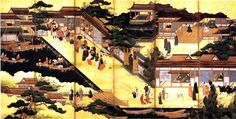 History of Portugal .the arrival of the Portuguese in Japan, the first europeans who managed to reach it, initiating the Nanban (southern barbarian) period of active commercial and cultural exchange between Japan and the west Japanese Sliding Doors, History Of Portugal, Japanese Furniture, Scenery Pictures, Korean Art, Natural Scenery, Old Magazines, Traditional Paintings, France
