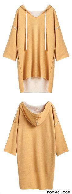Yellow Drop Shoulder High Low Drawstring Hooded Sweatshirt Dress