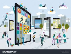 A Team Of People Work Creatively Together Building Giant Digital Tablets, Like Skyscrapers, And Creating The Content. Other People Download Content On Their Mobile Devices. Horizontal Composition. Stock Vector Illustration 126150599 : Shutterstock