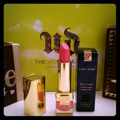 Estee Lauder Pure Color Crystal Lipstick Brand new in box! Estee Lauder Pure Color Crystal Lipstick in Peach Paradise Shimmer which is a peachy, coral color with shimmer.  I love this lipstick!  It feels incredibly creamy and moisturizing to your lips. They have an amazing smell, great staying power, and my favorite part is they do not settle into any fine lines you may have on your lips. The case it comes in is also beautiful and shows the color of the lipstick on the bottom. Very pretty…