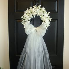 spring wreath summer wreath wedding front door by aniamelisa wedding Bridal shower decorations wedding wreaths front door wreaths outdoor bridal shower decorations white ivory country french weddings decor Wedding Door Decorations, Wedding Door Wreaths, Wedding Doors, Bridal Shower Decorations, Tulle Decorations, Garden Decorations, Bridal Shower Wreaths, First Communion Decorations, Bridal Shower Gifts