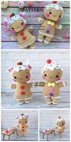 Amigurumi Gingerbread man free crochet pattern – F Holiday Crochet Patterns, Crochet Amigurumi Free Patterns, Crochet Animal Patterns, Crochet Dolls, Free Crochet, Crochet Angels, Crochet Christmas Ornaments, Crochet Snowflakes, Christmas Angels