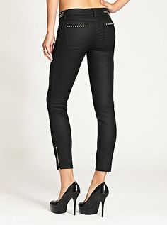 Brittney Cropped Mid-Rise Skinny Jeans with Studs | GUESS.ca