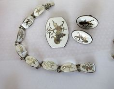 $22.00 Vtg SIAM STERLING White SET Bracelet Pin & Screwback Earrngs by feathersoup on Etsy