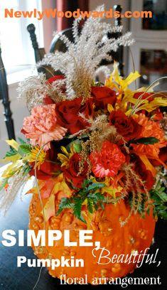 A gorgeous floral arrangement from a pumpkin!
