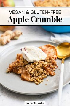 This cozy vegan apple crumble is also gluten free and tastes simply incredible. This recipe is big enough for a crowd and pleases all eaters! | dessert recipes | apple recipes | apple desserts | fall desserts | thanksgiving desserts | vegan desserts | vegetarian recipes | gluten free recipes | vegan recipes | plant based recipes | dairy free recipes | thanksgiving recipes | #vegan #glutenfree #apple #crumble #crisp #applecrumble #dessert #apples