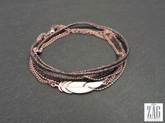 Bracelet ZAG plume multi-rangs SB2031 acier rose