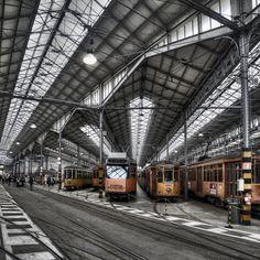 A garage tram in Milan, Italy
