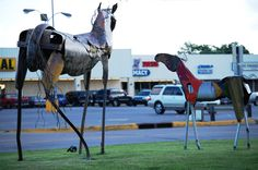 Scrap metal horses in Durant, Oklahoma What Is Sculpture, Sea Sculpture, Park Pavilion, Statues For Sale, Map Pictures, Autumn Park, Metal Tree Wall Art, Roadside Attractions, Durant Oklahoma