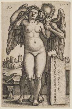 """By Hans Sebald Beham, 1547. The Latin translates as, """"Death destroys all beauty in Man."""" I find the imagery in this to be quite powerful. I love it!"""