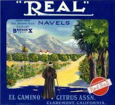 Claremont Real Orange Citrus Crate Label Art Print