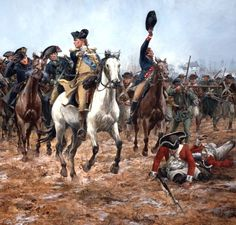 His Excellency General Washington leading from the front - Battle of Monmouth Courthouse American Revolutionary War, American War, Early American, American History, Battle Of Kings Mountain, Battle Of Monmouth, Leading From The Front, American Independence, Military Operations