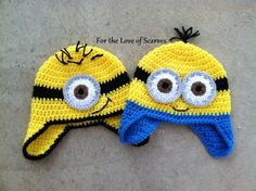Crochet Minion hat - Despicable Me - one for Kenzie, one for Finley :)