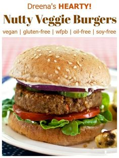 HEARTY Vegan Burgers: Dreena's Nutty Veggie Burgers! Delicious and EASY! #vegan #glutenfree #soyfree #wfpb #oilfree #burgers #veggieburgers #vegetarian #meatfree #healthy #recipe #meatless #easy #delicious #hearty #filling #food #plantbased #wholefoods