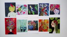 Set of 10 postcards - ensemble de 10 cartes postales de la boutique ValerieBelmokhtarArt sur Etsy
