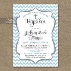 Blue Baptism Invitations Printable Baby Blue by NiftyPrintables