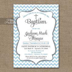 Blue Baptism Invitations Printable Baby Blue Chevron Baptism Invitation For Boy Boys Pastel Blue Silver Gray First Communion Invite Bch