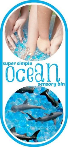 Super Simple Ocean Sensory Bin thats tons of fun for preschoolers and bigger kids that love to play. by alhely