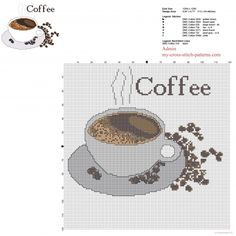 A cup of hot coffee with text free cross stitch pattern download