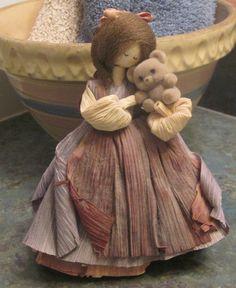 Nan's Corn Husk Doll Girl Holding Teddy Bear 1985 by LeftoverStuff, $32.00