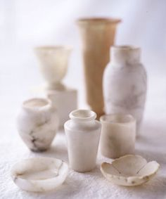 Marble bottles and dishes