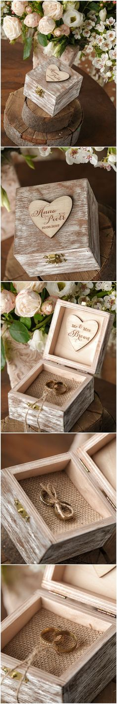 Beautiful Wooden Wedding Ring Box #romantic #rustic #weddingringbox #weddingring #wood #handmade #engraved
