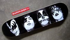Rock 'n Rollerboard all night and party every day. Russell Walks created this www.BoardPusher.com Featured Deck with his portraits of the original KISS. You can find more of Russell's retro pop culture artwork at www.russellwalksart.tumblr.com.