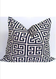 NAVY BLUE PILLOW Cover for an 18x18 inch Pillow.Greek Key.