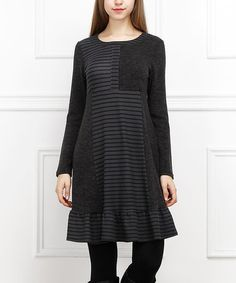 Another great find on #zulily! Charcoal & Black Stripe A-Line Dress #zulilyfinds