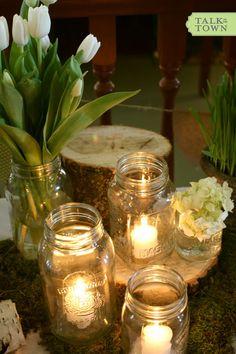 simple spring wedding - mason jar candles!
