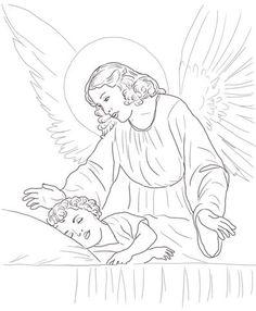 Un Ángel Guardián Cuida el Sueño de un Niño  Dibujo para colorear