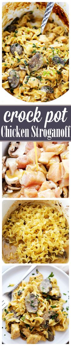 Crock Pot Chicken Stroganoff - Creamy, incredibly delicious and SO easy to make! Just place all ingredients in the crock pot and walk away. Even the noodles get cooked in the crock pot!