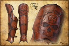 Leather greaves Inquisitor by FantasyLeatherCraft on Etsy