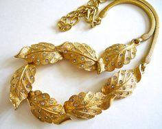 Collana foglia oro di PENNINO, strass, catena del serpente, firmato Vintage