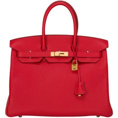 Pre-Owned Hermes Rouge Casaque Birkin 35cm Gold Hardware ($22,000) ❤ liked on Polyvore featuring bags, handbags, red, colorful purses, pre owned handbags, multi color purse, real leather handbags and hermes purse