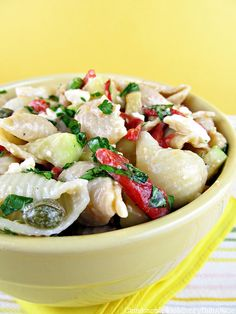 Pasta Salad w/ Feta, Capers and Chickpeas