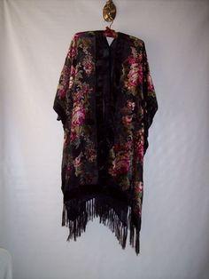 Treasury Item - Kimono - Jacket - Plus Size - Fringed - Black Silk Velvet Burnout Fabric, Bohemian Hippie Vintage Inspired Cocoon