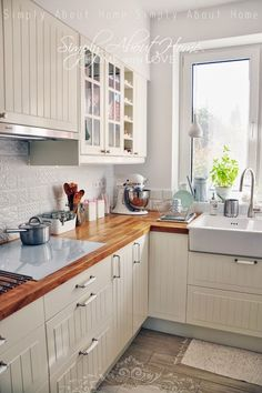 simply about home: Serce domu / Kitchen / Ceramic Tiles / White Kitchen / Ikea / white induction cooktop Home Decor Kitchen, Rustic Kitchen, Country Kitchen, Kitchen Interior, New Kitchen, Home Kitchens, Mini Kitchen, White Ikea Kitchen, Small Space Kitchen