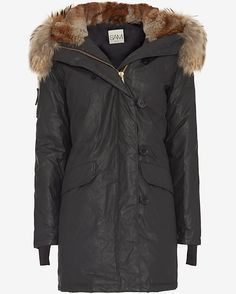 SAM Fur Trim Hooded Double Downtown Parka: Black: This cargo jacket is crafted from a fine Egyptian cotton twill which has been specially treated to accentuate a distressed feel. The coating makes the garment wind resistant, water repellent and easy to care for. Details include: fur lined hood with ...