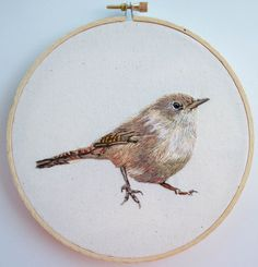 Chercán (hand embroidery) Embroidered Bird, Bird Embroidery, Hand Embroidery Designs, Embroidery Stitches, Embroidery Patterns, Paper Birds, Bird Drawings, Drawing Birds, Bird Crafts