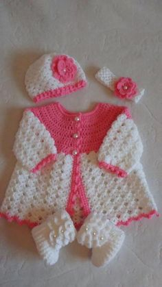 Lots of inspiration no patterns super cute outfits cute inspiration lots outfits patterns super Crochet pink and gray baby dress set with rosebuds comes with White Crochet Baby Sweater with Hood for Boy by ForBabyCreations Hand crochet/crocheted dress for Crochet Baby Dress Free Pattern, Crochet Baby Sweaters, Baby Sweater Patterns, Crochet Baby Cardigan, Baby Girl Sweaters, Crochet Baby Clothes, Baby Knitting Patterns, Baby Blanket Crochet, Baby Patterns