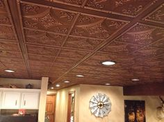 Cathedral Ceiling Tile by uDecor gives this room character and warmth. This PVC ceiling tile looks just like tin tiles! Enjoy the charm and benefits of faux tin tiles. Faux Tin Ceiling Tiles, Tin Tiles, Accent Ceiling, Victorian, Home, Basement Ideas, Basement Remodeling, Cathedral, Family Room